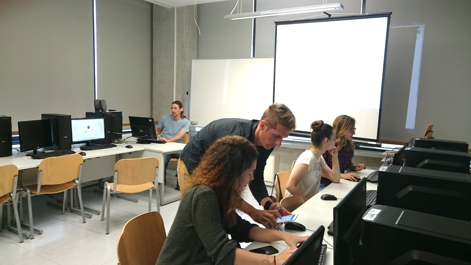 Dr. Arnaud Kurze (center), Montclair State University, conducting a workshop on digital methods at the University of Rijeka, Croatia.